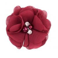 Шифоновый цветок Бордовый с декором, 1 шт