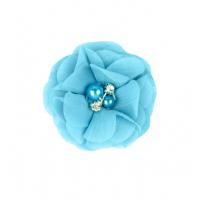 Шифоновый цветок Голубой с декором, 1 шт
