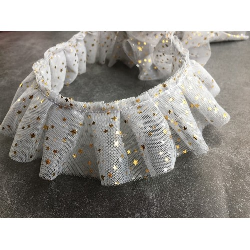 Фатиновая лента со звездами Белая фото