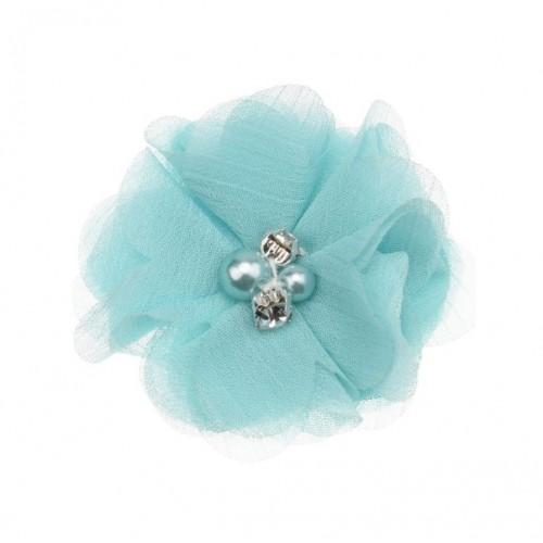 Шифоновый цветок Мятный с декором, фото