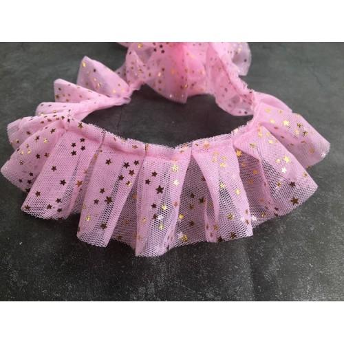 Шифоновая лента со звездами Розовая фото