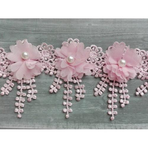 Шифоновый цветок на кружеве Розовый, 1 шт