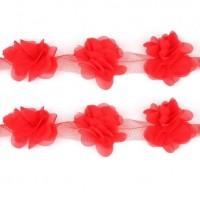 Шифоновый цветок Красный, 1 шт
