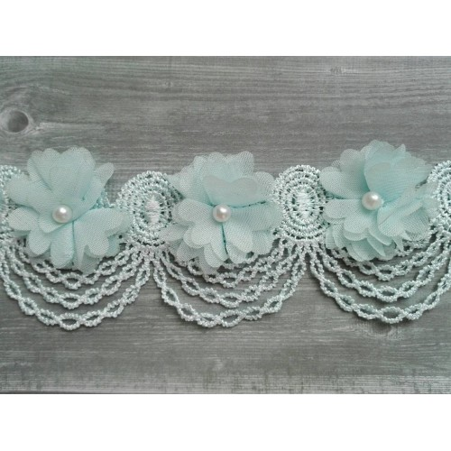 Шифоновые цветы на кружевной ленте Голубые фото