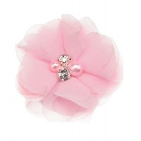 Шифоновый цветок Розовый с декором, 1 шт
