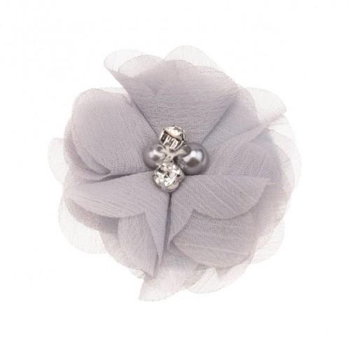 Шифоновый цветок Серый с декором, 1 шт
