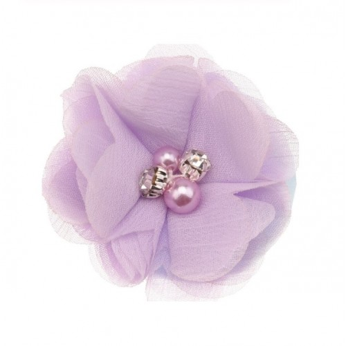 Шифоновый цветок Сиреневый с декором, 1 шт