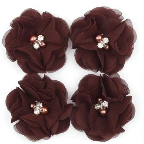 Шифоновый цветок Коричневый с декором, 1 шт