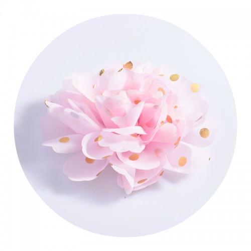 Шифоновый цветок Розовый в золотой горох, фото
