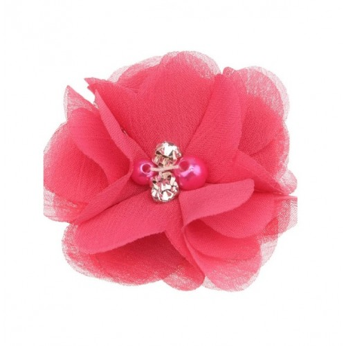 Шифоновый цветок Ярко-малиновый с декором, 1 шт