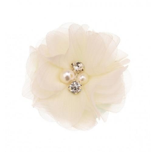 Шифоновый цветок Молочный с декором, фото