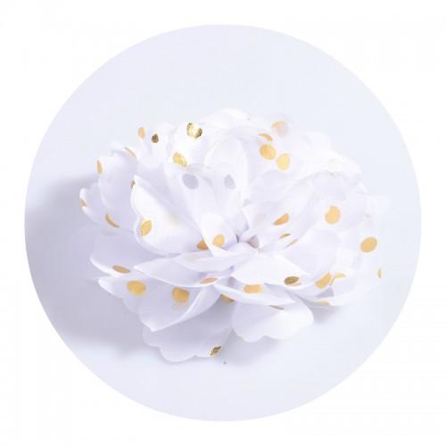 Шифоновый цветок Белый в золотой горох