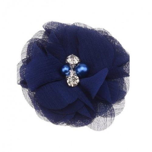 Шифоновый цветок Темно-синий с декором, 1 шт
