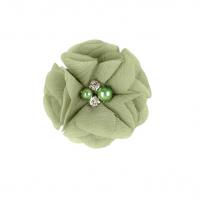 Шифоновый цветок Хаки с декором, 1 шт
