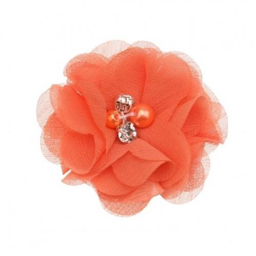 Шифоновый цветок Оранжевый с декором, 1 шт