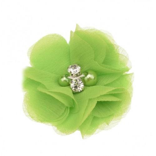 Шифоновый цветок Салатовый с декором, 1 шт