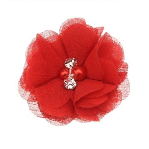 Шифоновый цветок Красный с декором, фото