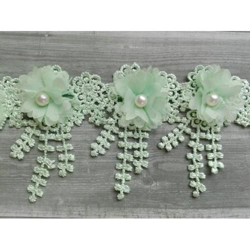 Шифоновые цветы на кружеве Мятные фото