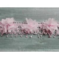 Шифоновый цветок с кружевом Розовый, 1 шт