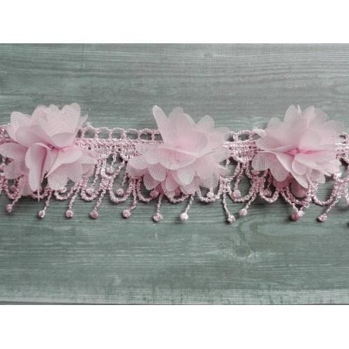 Шифоновые цветы с кружевом Розовые фото