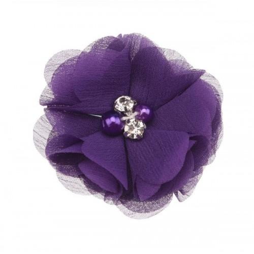 Шифоновый цветок Фиолетовый с декором, фото
