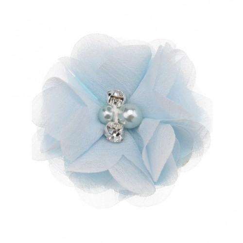 Шифоновый цветок Голубой с декором, фото