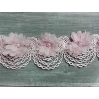 Шифоновый цветок на кружевной ленте Розовый, 1 шт