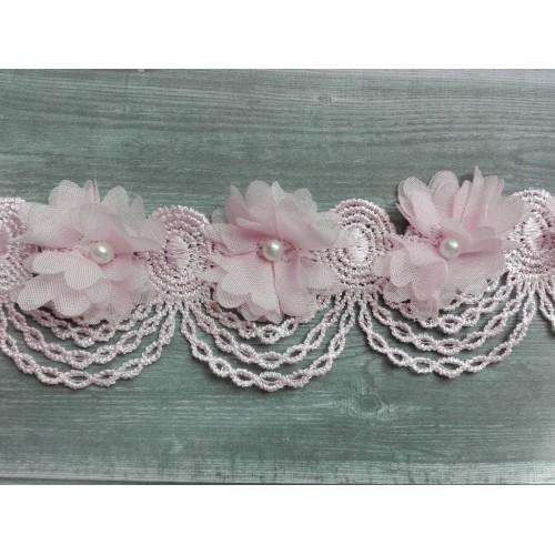 Шифоновые цветы на кружевной ленте Розовые фото
