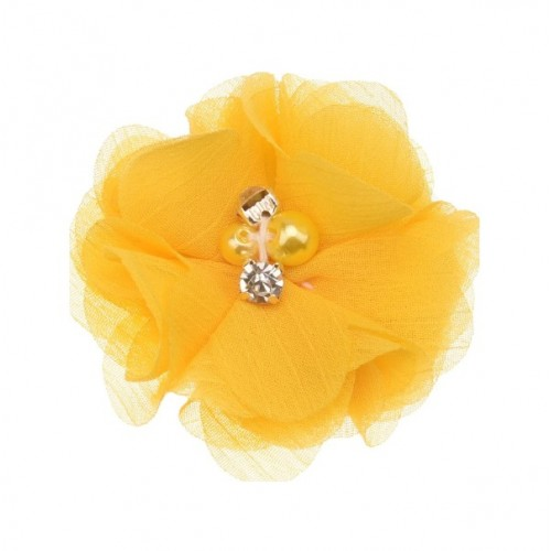 Шифоновый цветок Желтый с декором, 1 шт