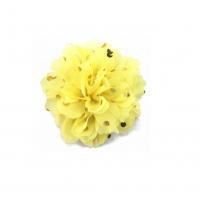 Шифоновый цветок Нежно-желтый в золотой горох