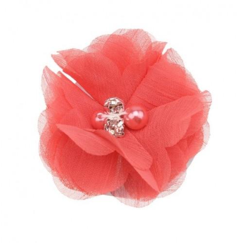 Шифоновый цветок Коралловый с декором, 1 шт