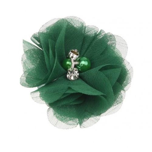 Шифоновый цветок Зеленый с декором, 1 шт