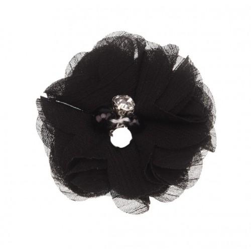 Шифоновый цветок Черный с декором, 1 шт