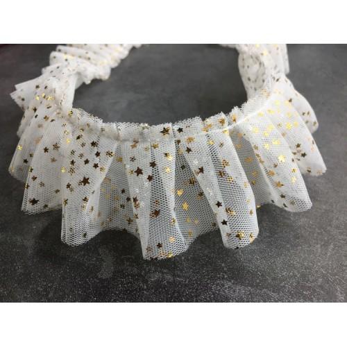 Фатиновая лента со звездами Серая, фото