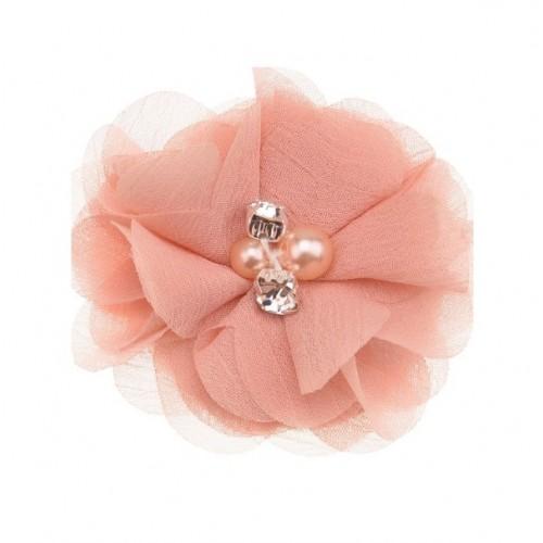 Шифоновый цветок Персиковый с декором, 1 шт