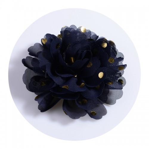 Шифоновый цветок Темно-синий в золотой горох, фото