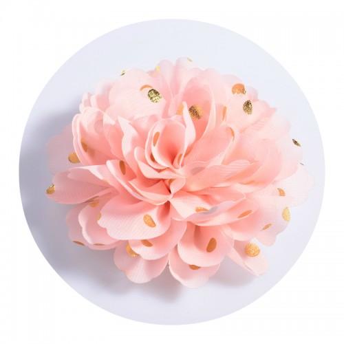 Шифоновый цветок Персиковый в золотой горох