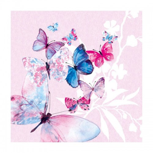 Салфетка для декупажа Бабочки розовые Ambiente