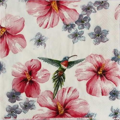 Декупажная салфетка Колибри в цветах, 33x33 см