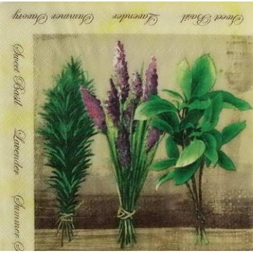 Декупажная салфетка Травы 2, 33x33 см