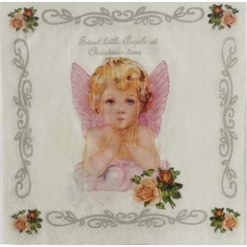 Декупажная салфетка Рождественский ангел, 33x33 см