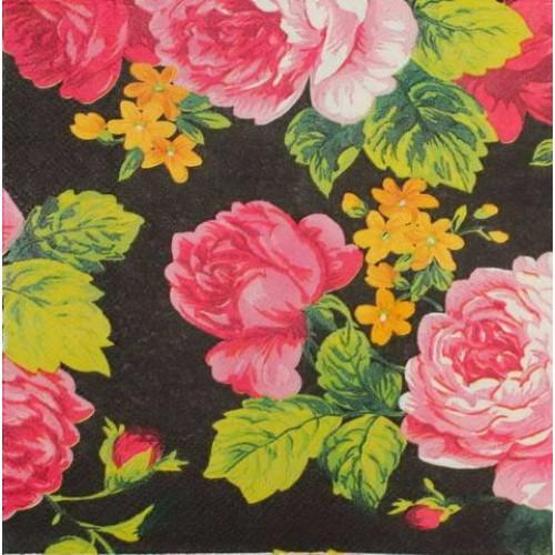 Декупажная салфетка Цветы на черном, 33x33 см