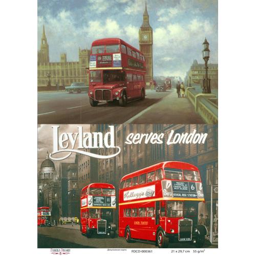 Декупажная карта Лондон, 21x30см, Фабрика Декору