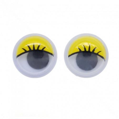 Глазки для игрушек с ресницами круглые желтые 0,7 см