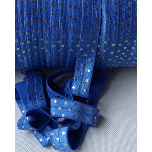 Эластичная лента Синяя с золотым горошком фото