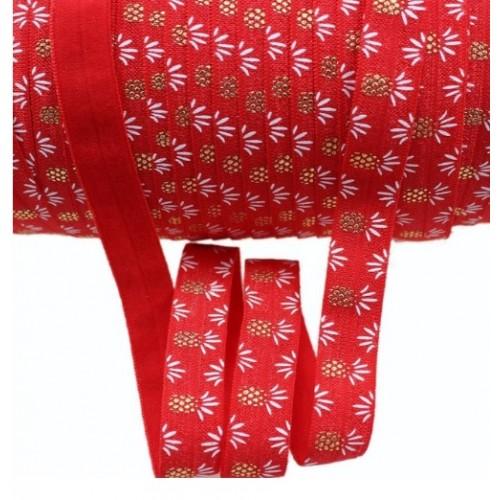 Эластичная лента Красная с золотыми ананасами фото