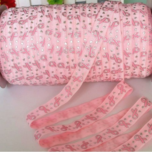 Эластичная лента Розовая с бантиками и сердечками фото