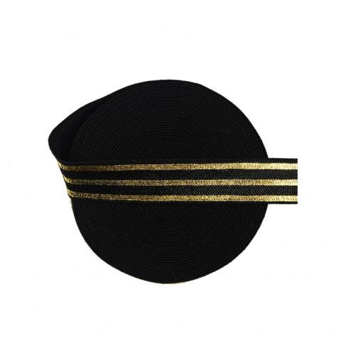 Эластичная лента Черная с золотыми полосками фото