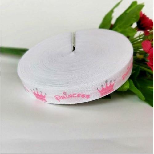 Эластичная лента Белая с розовыми коронами и надписью Princess фото