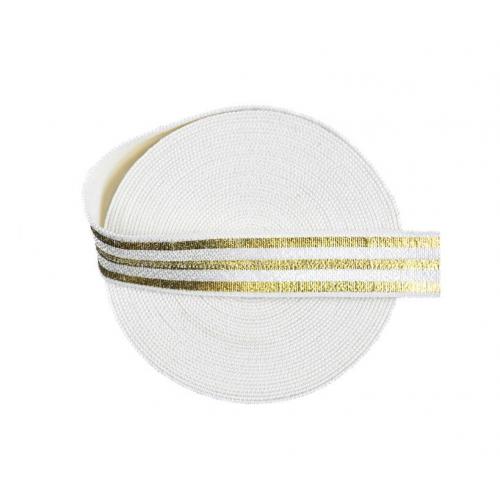 Эластичная лента Белая с золотыми полосками фото